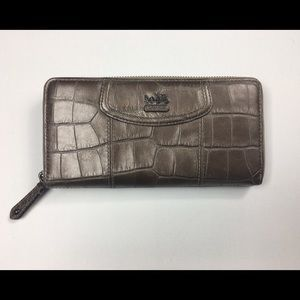 Coach Croc Embossed Leather Accordion Zip Wallet